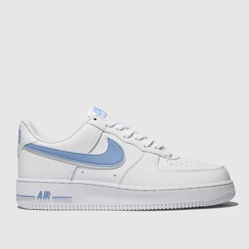 Nike White & Pl Blue Air Force 1 07 3 Mens Trainers