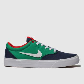 Nike Sb Navy & Green Charge Solarsoft Mens Trainers