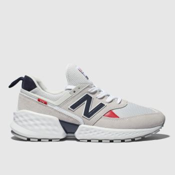 new balance light grey & navy 574 v2 trainers