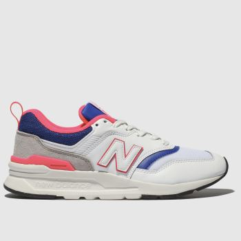 New Balance White & Blue 997 Trainers