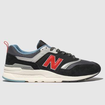 new balance black & orange 997 trainers