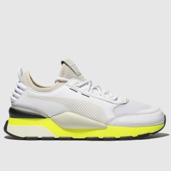 puma white & yellow rs-0 tracks trainers