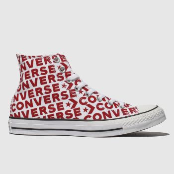 Converse White & Red All Star Wordmark 2.0 Hi Mens Trainers