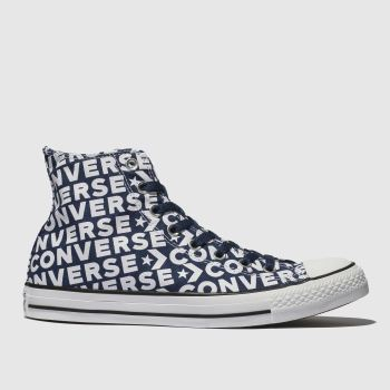 Converse Navy & White All Star Wordmark 2.0 Hi Mens Trainers
