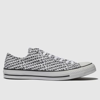 Converse White & Black All Star Wordmark 2.0 Ox Mens Trainers