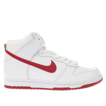 NIKE WHITE & RED DUNK HI TRAINERS