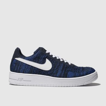 nike navy & white air force 1 flyknit trainers