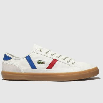 0211348f2 Lacoste White   Blue Sideline Mens Trainers