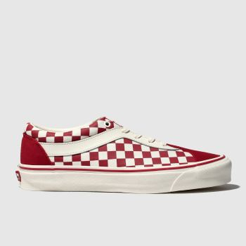 Vans White & Red Bold Ni Checkerboard Mens Trainers