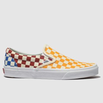 Vans Yellow & Red Classic Slip-On Checkerboard Mens Trainers