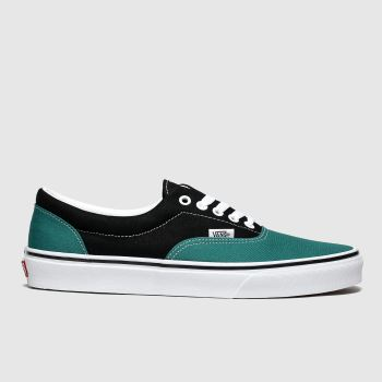 vans black & green era 2tone trainers