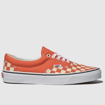 Vans Orange Era Checkerboard Mens Trainers