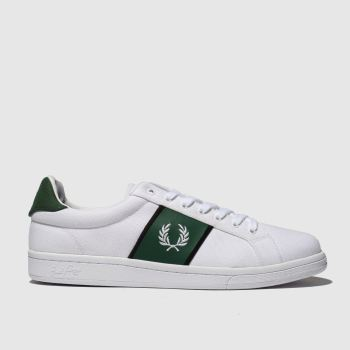 Fred Perry White & Green B721 Canvas Tricot Mens Trainers