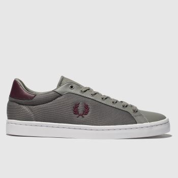 Fred Perry Grey Lawn Leather Mens Trainers