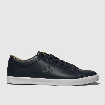 Fred Perry Navy Baseline Leather Mens Trainers