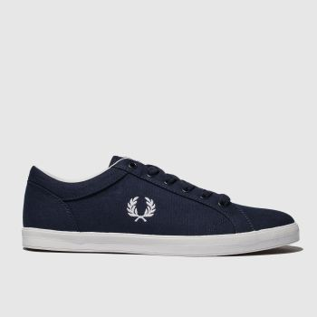 Fred Perry Navy & White Baseline Canvas Mens Trainers