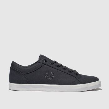 Fred Perry Dark Grey Baseline Canvas Mens Trainers