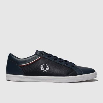 fred perry navy & white baseline tipped collar trainers