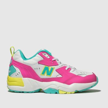 New Balance White & Pink 608 Trainers