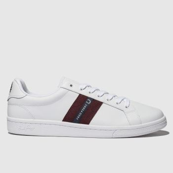 Fred Perry White B721 Leather Tape c2namevalue::Mens Trainers