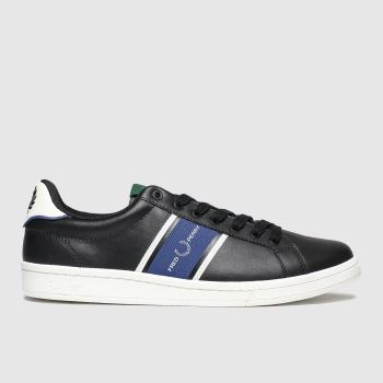 Fred Perry Black and blue B721 Webbing Mens Trainers