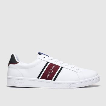 Fred Perry White & Burgundy B721 Webbing Mens Trainers
