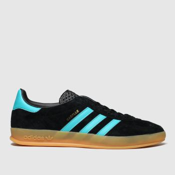 Adidas Black and blue Gazelle Indoor c2namevalue::Mens Trainers
