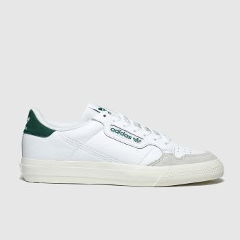 adidas white & green continental vulc trainers