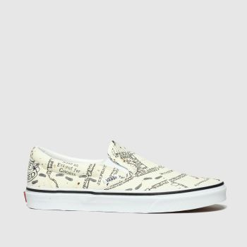Vans White & Beige Hp Marauders Map Classic Slip Mens Trainers