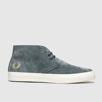 Fred Perry Grey Portwood Suede c2namevalue::Mens Trainers