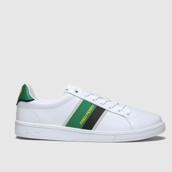 fred perry white & green b721 two tone trainers