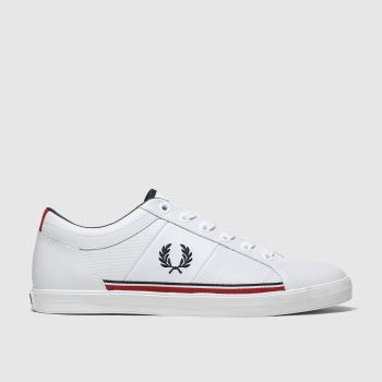 Fred Perry White & Navy Baseline Perf Trainers