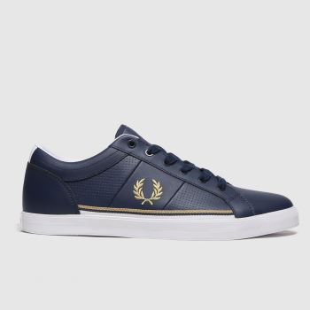 Fred Perry Navy Baseline Perf Lthr Mens Trainers