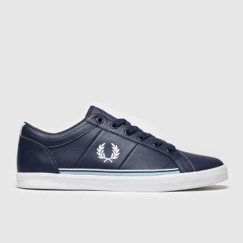 Fred Perry Navy & White Baseline Perf Mens Trainers from Schuh