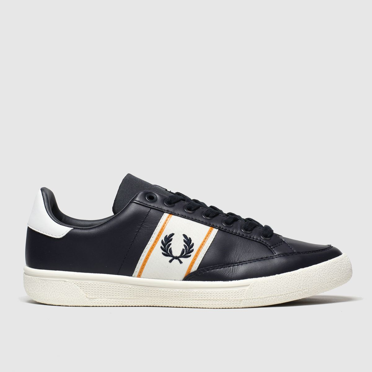 Fred Perry Navy & White B3 Leather Trainers