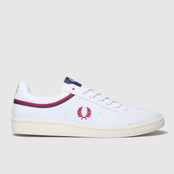 Fred Perry White & Red B721 Tipped Collar Mens Trainers