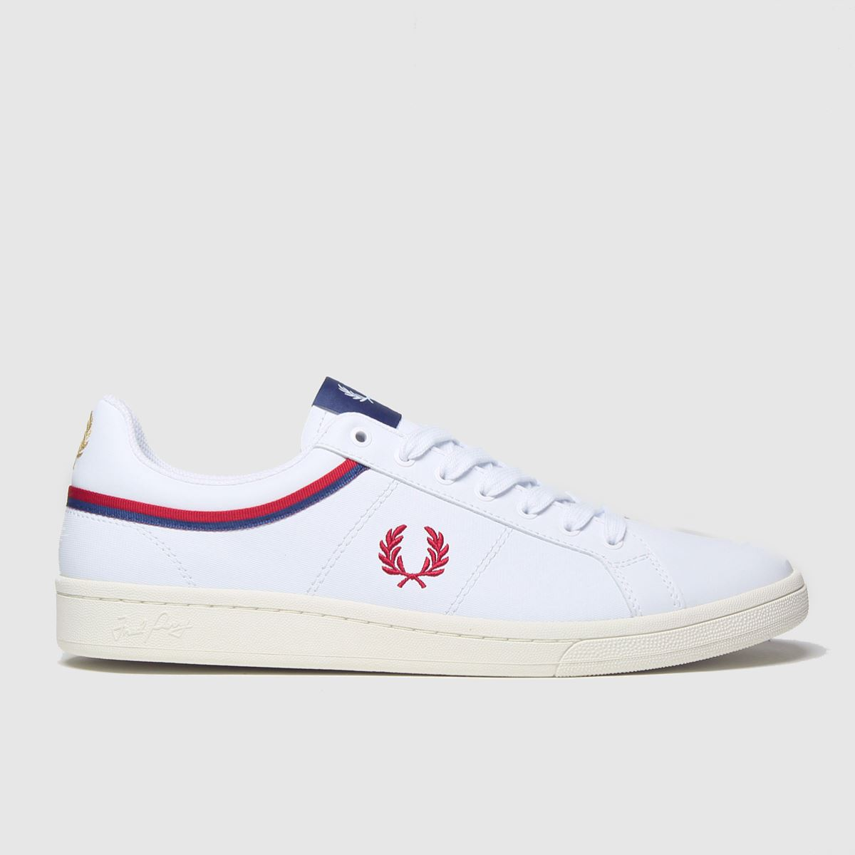 Fred Perry White & Red B721 Tipped Collar Trainers