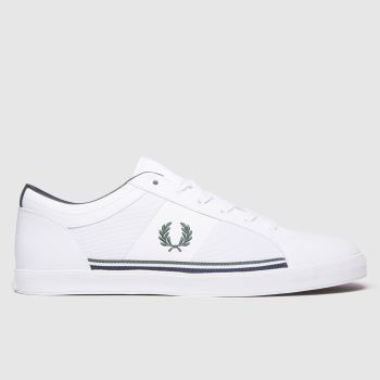 Fred Perry White & Green Baseline Mesh Mens Trainers