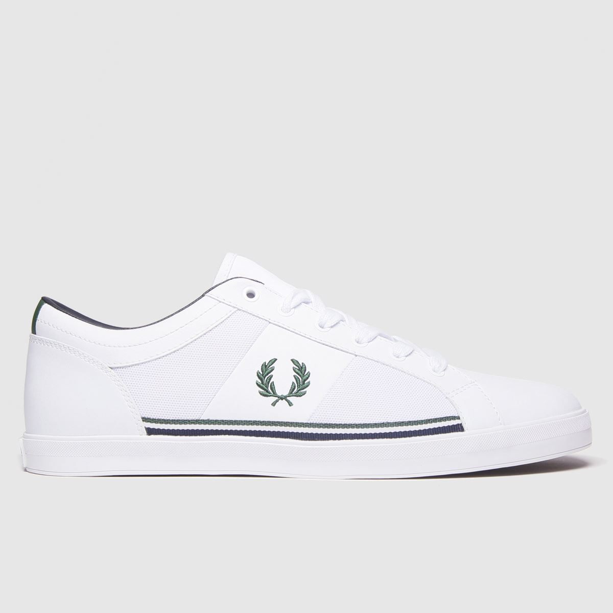 Fred Perry White & Green Baseline Mesh Trainers