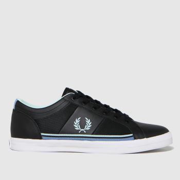 Fred Perry Black & White Baseline Mesh Mens Trainers