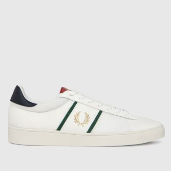 Fred Perry White & Gold Spencer Leather Mens Trainers