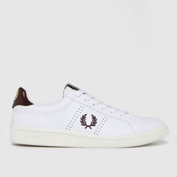 Fred Perry White & Burgundy Leather Tab Mens Trainers