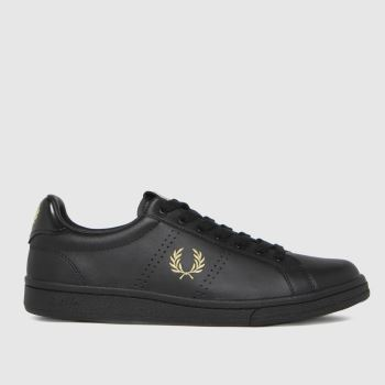 Fred Perry Black & Gold Leather Tab Mens Trainers