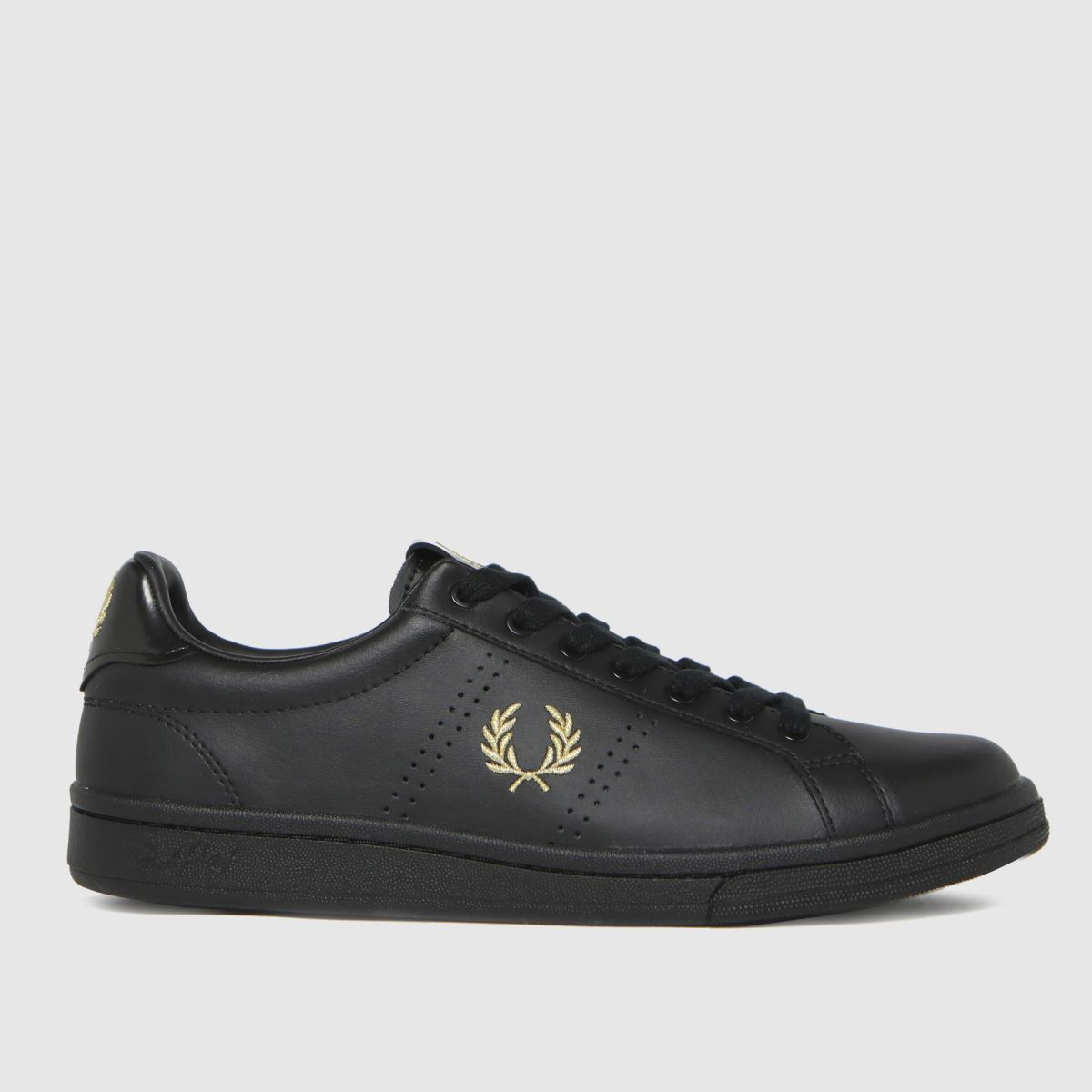 Fred Perry Black & Gold Leather Tab Trainers