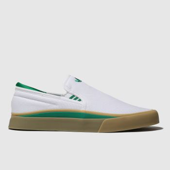 Adidas Skateboarding White & Green Sabalo Slip Mens Trainers