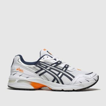 asics white & navy gel-1090 trainers