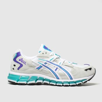 asics white & green gel kayano 5 trainers