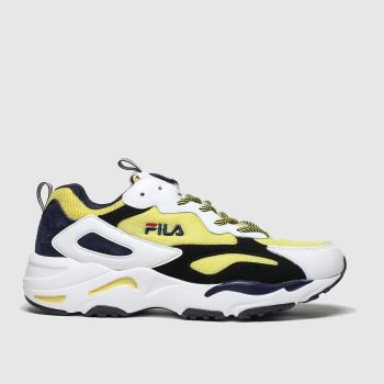 Fila White & Yellow Ray Tracer Mens Trainers