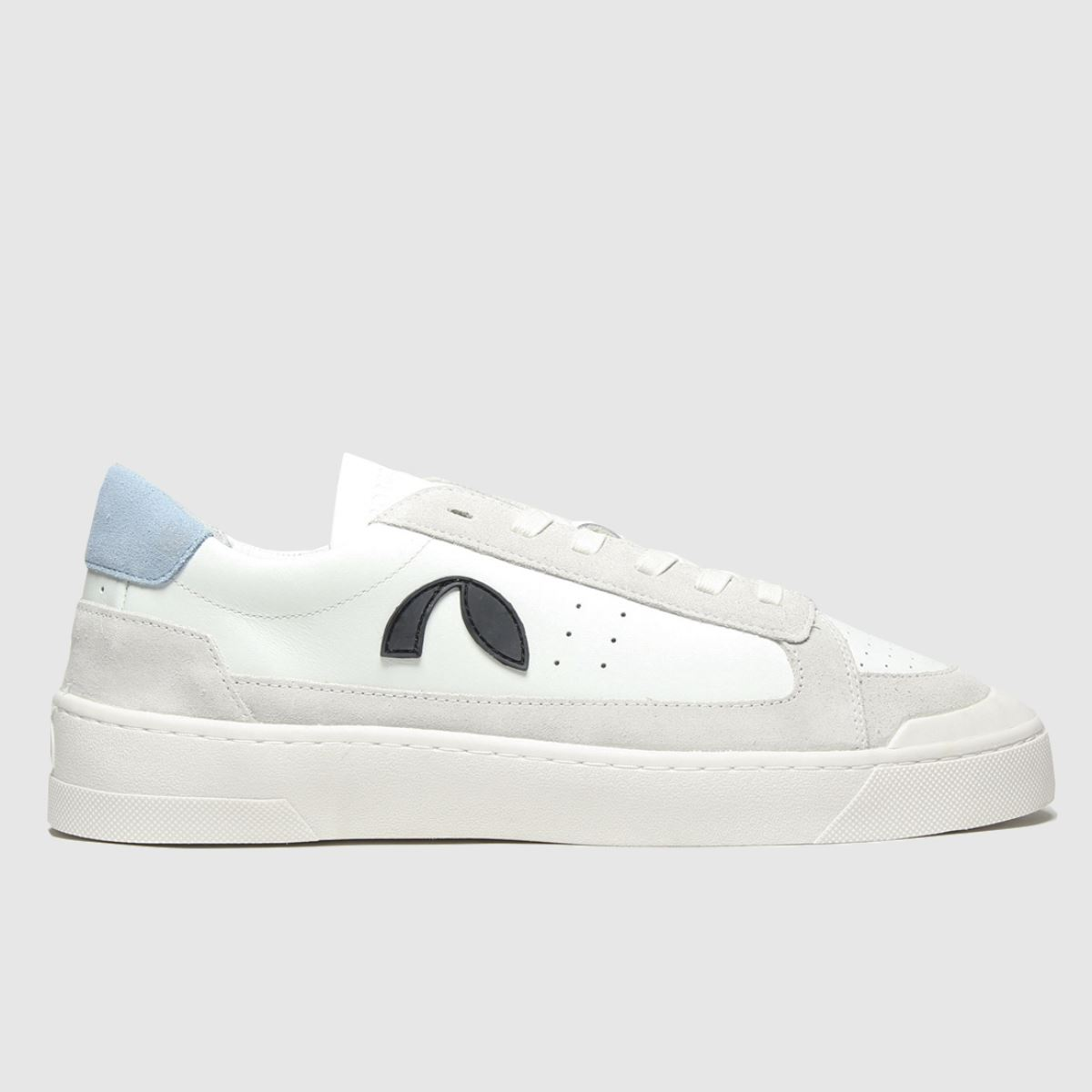 Roscomar White & Pl Blue Deck Leather Trainers
