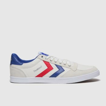 hummel White & Blue Stadil Slim Mens Trainers